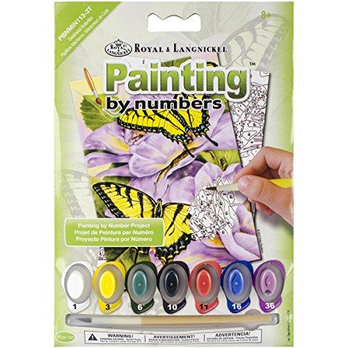 ROYAL BRUSH PBNMIN-113 Swallowtail Butterflies Mini Paint by Number Kit, 5