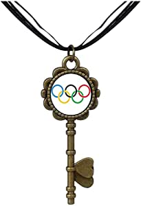 Chicforest Bronze Retro Style Olympic five rings Key to Her Heart Pendant
