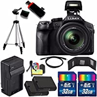 Panasonic Lumix DMC-FZ300 Digital Camera + Extra battery + Charger + 32GB Card + HDMI Cable + Tripod + USB Card Reader + Memory Card Wallet + Deluxe Accessory Kit Bundle Explained Review Image
