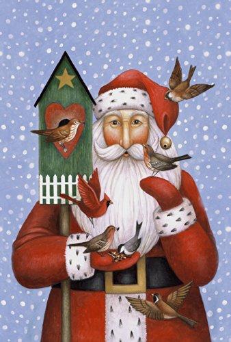 Toland Home Garden Birdhouse Santa 12.5 x 18 Inch Decorative Winter Holiday Christmas Cardinal Bird Garden Flag