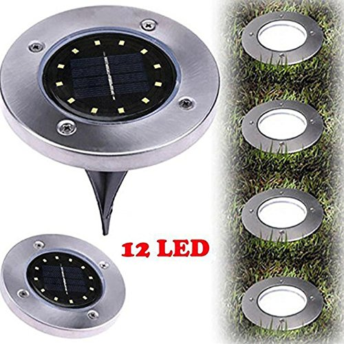 RONSHIN 12 LED lámpara solar para exteriores con luz enterrada bajo el piso para caminos jardín césped, Warm Light 1pcs, as shown, 1