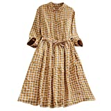 Hot Sales,DEATU Womens Dresses Ladies Teen Classic Plaid Tunic Button Down Long Sleeve Shirt Dress(Yellow,M)