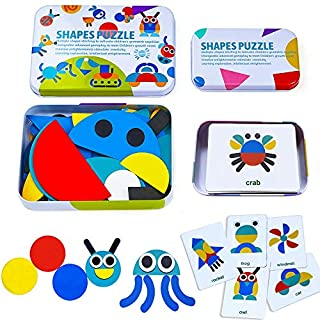 Wooden Pattern Blocks Animals Jigsaw Puzzle Sorting and Stacking Games Montessori Educational Toys for Toddlers Kids Boys Girls Gift (36 Shape Pieces& 60 Design Cards in Iron Box)