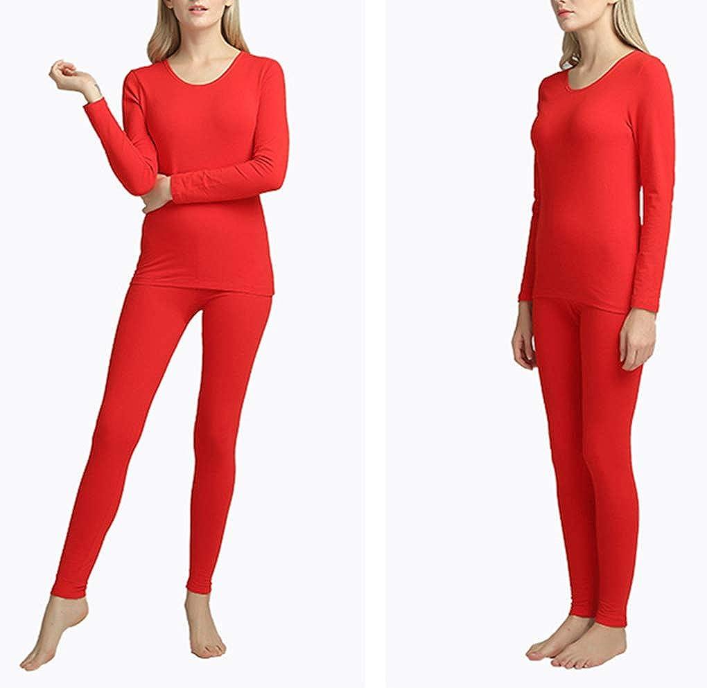 YAXIUFEN Thermal Underwear Set for Women Long Sleeve Solid Color Slim Bodybuilding Pajama Set