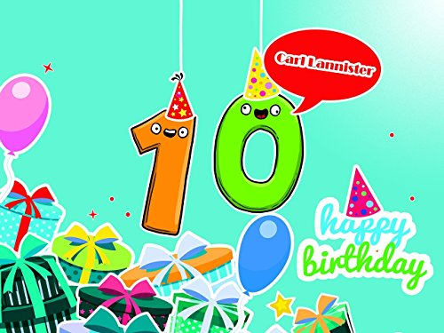 Custom Creative Design Birthday Party Poster for 10 Year Old Kids - Size 24x36, 48x24, 48x36; Personalized Cartoon Pop-eyed Figures Birthday Banner Wall Décor, Handmade Party Favors Poster Print