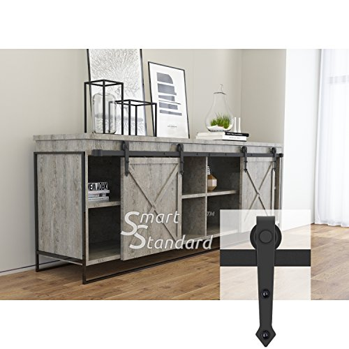 8ft Double Door Cabinet Barn Door Hardware Kit- Mini Sliding Door Hardware - for Cabinet TV Stand - Simple and Easy to Install - Fit 24