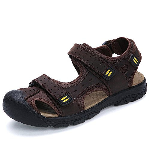 Hope Mens Summer Sports Sandals Leather Closed-Toe Outdoor Sandals Trekking Shoes Coffee