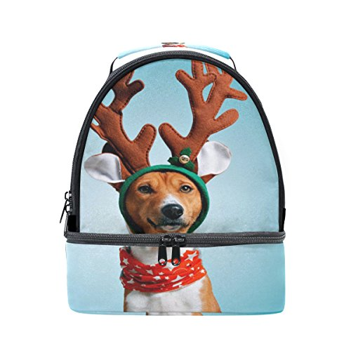 ALAZA Funny Christmas Deer Costume Dog Portable Shoulder Double Lunch Box Bag Insulated Lunch Tote Outdoor -