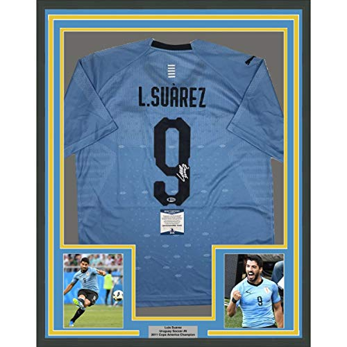 c58334dc7 Framed Autographed Signed Luis Suarez 33x42 Uruguay Blue World Cup Soccer  Futbol Jersey Beckett BAS COA