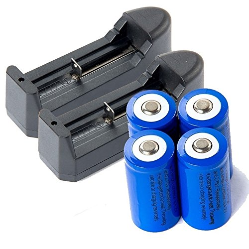16340 CR123A 3.7V Rechargeable Li-Ion Battery Batteries + 2x Charger by Briday