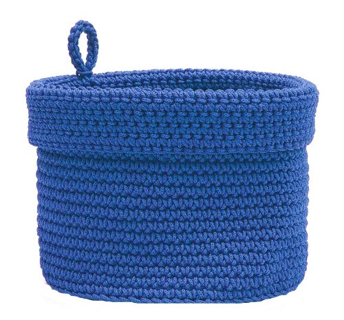 Heritage Lace Mode Crochet Round Basket with Loop, 10 by 10-Inch, Cobalt Blue