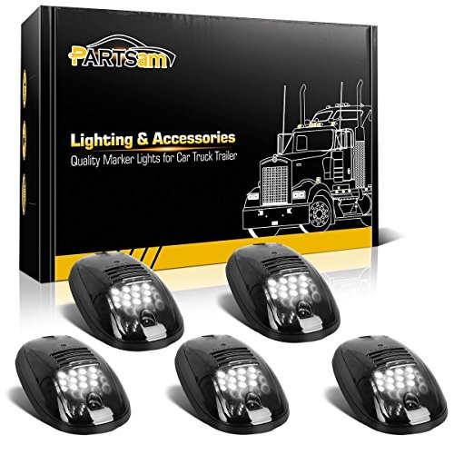 Partsam 5pcs 12LEDs Smoke/White Cab Roof Top Marker Running Lights 264146BK Replacement for Dodge Ram 2003-2018 (Smoked Lens/White Lights)
