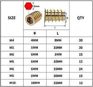 URLWALL 138PCS Threaded Inserts Nuts, Wood Insert Assortment Kit, Metric Rivet Insert Nuts Hex Socket, Flanged Screw in Nuts Set for Wood Furniture Assortment M4/M5/M6/M8/M10 (Tamaño: 138PCS)