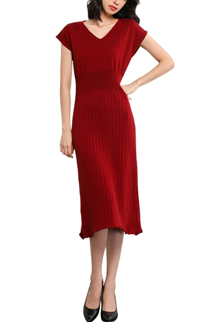 Knit Dresses Women's Vneck Cashmere Short Sleeve Elegant Sheath Aline Dresses for Party (L, D-Wine)