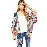 Sunward Flower Chiffon Shawl Kimono Cardigan Coats Jackets Cover up Blouse Tops (M, Multi-color)