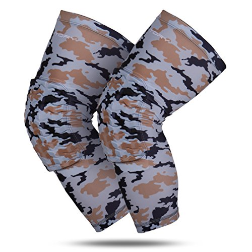 Padded Calf Pad (RoryTory Padded Compression Leg Sleeves Basketball Knee Pads Brace Support for Football Volleyball Baseball Soccer Tennis Sports Protection Men Women Adults - (1 Pair) Medium Size | Gray Camouflage)