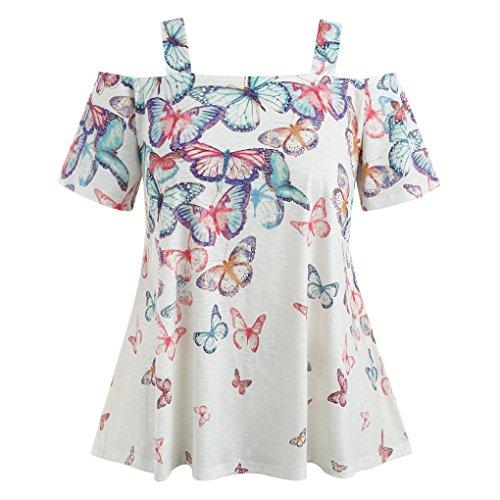 Kintaz Women Plus Size Floral Print Short Ruffle Sleeve Belted Surplice Peplum Blouse V-Neck Tops (White (Belted Print Blouse)