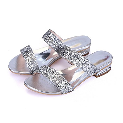 Solid Slippers Heel Material Soft Rhinestones Studded Silver BalaMasa Girls xq0nB4BI