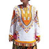 RaanPahMuang Open Collar Long Sleeve African Dashiki Print Dance To Afrika Shirt, Medium, White Multi Yellow