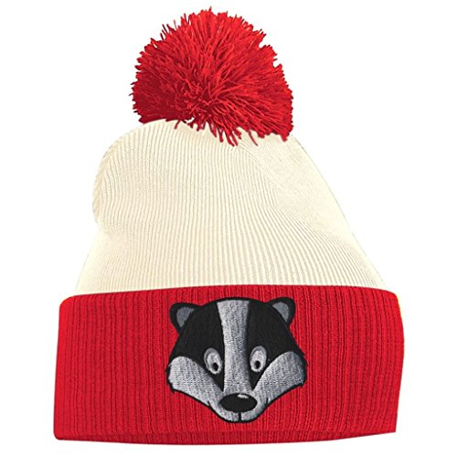 Red Off White and Face Pom Pom Badger Beanie CqYwwxPv