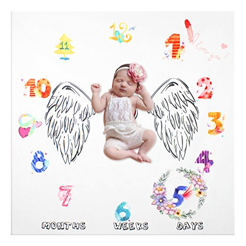 NinkyNonk Monthly Baby Milestone Blanket Photo Blankt Newborn Photo Props Lovely Heart Wing Baby Photography Backdrop for Boys Girls New Moms Baby Shower (Wings Heart Drops)