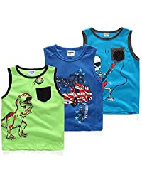 Coralup Boys'Tank Tops Sleeveless 3-Pack