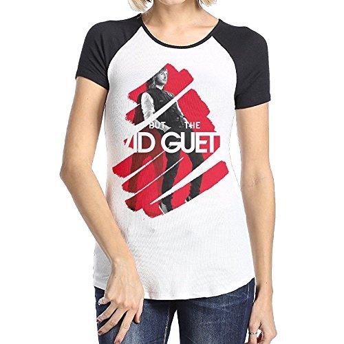 Danielle Women's David Guetta Short Sleeve Raglan Baseball T-Shirts Black XX-Large (Best Memories David Guetta)