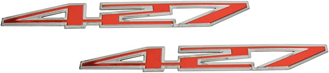 Red Pair Set 427 Metal Highly Polished Aluminum Engine Hood Emblem Badge Replacement for Chevy Chevrolet Corvette Z06 C6