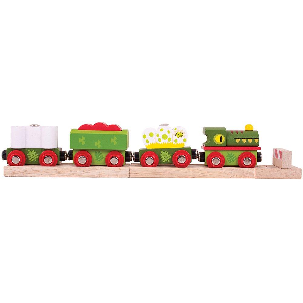 Bigjigs Rail Wooden Dinosaur Railway Engine and Train Cars