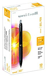 uni-ball 307 Retractable Gel Pens, Micro Point (0.5mm), Black, 12 Count