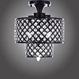 Cheap MonaLisa Gallery Antique Black Crystal Chandeliers Flush Mount Ceilling Pendant Light Fixture SML-182-3 W12xH14B