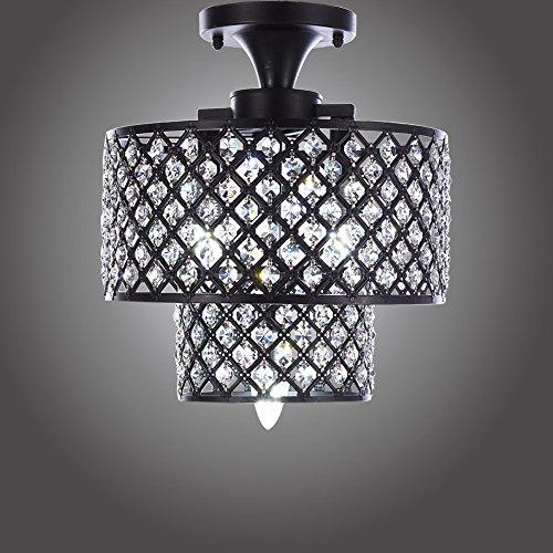 MonaLisa Gallery Antique Black Crystal Chandeliers Flush Mount Ceilling Pendant Light Fixture SML-182-3 W12xH14B