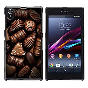 FlareStar Colour Printing Chocolate Sweet Candy Brown Food cáscara Funda Case Caso de plástico para Sony Xperia Z1 L39 C6902 C6903 C6906 C6916 C6943