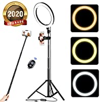 """acetek 10"""" Selfie Ring Light with Tripod Stand & Cellphone Holder, LED Camera Selfie Ring Light for Live Stream/Makeup/YouTube Video/Photography Compatible with iPhone and Android, Wireless Remote"""