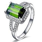 2.2ct Emerald Cut 6X8mm Green Tourmaline Gemstone Diamonds In 14Kt White Gold Wedding Emgagement Bridal Band Ring for Women