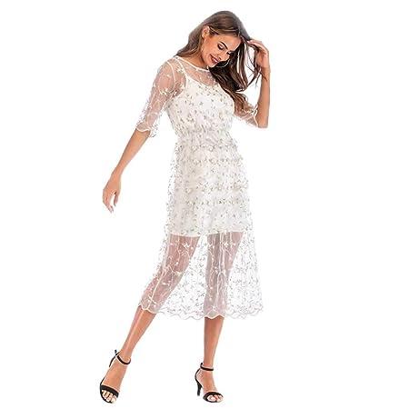 Vestido de Mujer Fresco Casual Bordado Floral Dos Piezas Falda ...