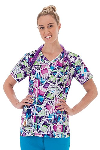 Geometric Print Top (Bio Women's Mock Wrap Geometric Print Scrub Top Medium Print)