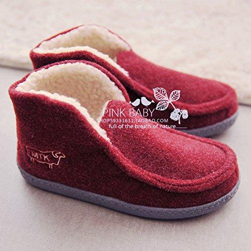 Forfait hiver avec chaussons en coton pour rester à la maison quelques jolies chaussures chaudes et les hommes ,37, vin rouge (couleur)