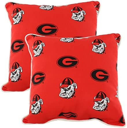 College Covers Georgia Bulldogs Outdoor Decorative Pillow Pair- 2 16 x 16 Pillows, Red