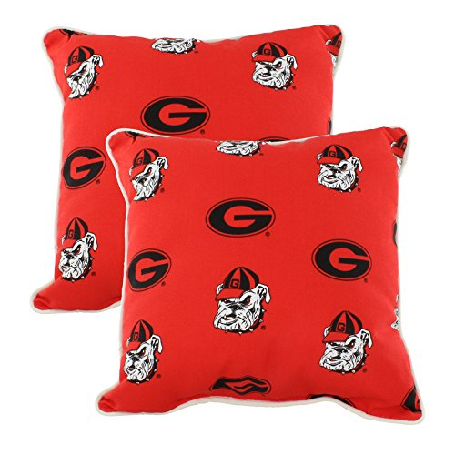 "Price comparison product image College Covers GEOODPPR Georgia Bulldogs Outdoor Decorative Pillow Pair, 16"" x 16"", Red"
