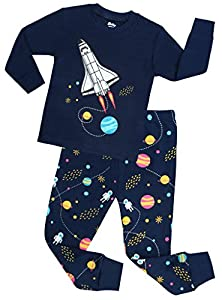 Boys Rocket Pajamas Children Christmas Pants Set 100% Cotton Size 2-7 Years