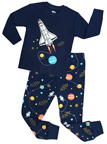 (shelry Boys Rocket Pajamas Children Christmas Pants Set 100% Cotton Size 4 Years)