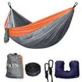 Camping Hammock Portable Lightweight Parachute Nylon Hammock with Tree Straps for Camping Travel Beach Yard (Grey and Orange)