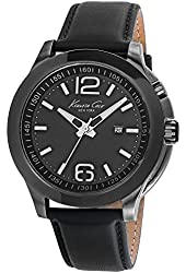 Kenneth Cole 10022558 New York Men's Black Leather Strap Band Black Dial Watch