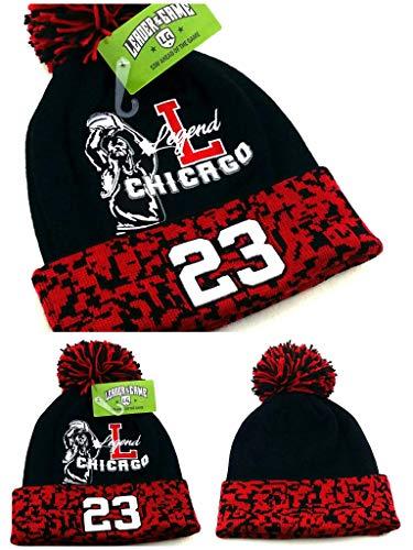 Embroidered Cap Reebok (Chicago New Leader Legend 23 Jordan Bulls Colors Black Red Toque Pom Beanie Era Hat Cap)