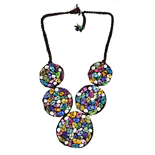 AeraVida Mosaic Bubble Bib Handmade Multicolor Shell and Cultured Freshwater Pearl Necklace