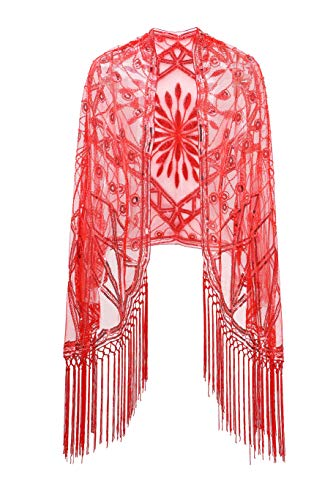 Metme Women's 1920s Scarf Wraps Sequin Deco Fringed Wedding Cape Evening Shawl vintage prom ()