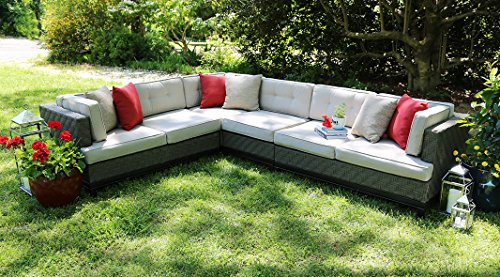 AE Outdoor 4-Piece Camilla All Weather Wicker Sectional with Sunbrella Fabric