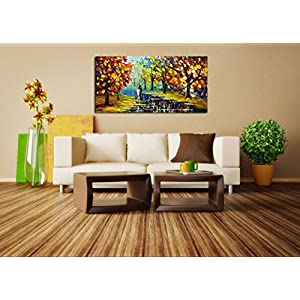 Fasdi-ART Paintings, 24x48 Inch Paintings,Oil Painting Landscape 3D Hand-Painted On Canvas Abstract Artwork Art Wood Inside Framed Hanging Wall Decoration Abstract Painting (DF002)
