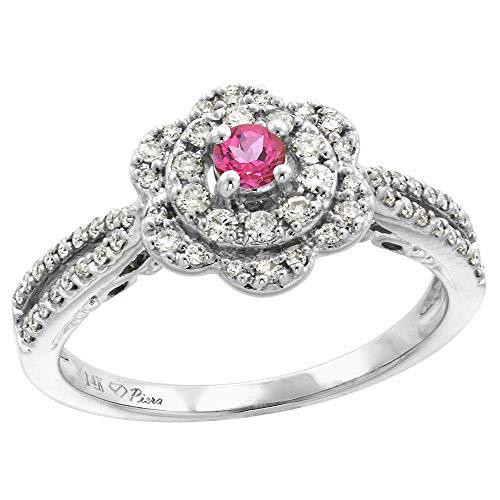 (14K White Gold Genuine Diamond & Pink Topaz Flower Halo Engagement Ring Round Brilliant cut 3mm, size 8)